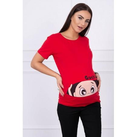 Červené mamičkovské/tehotenské tričko