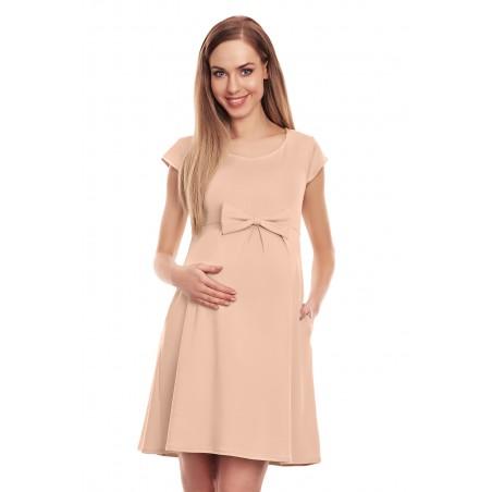 Béžové tehotenské šaty s mašľou PeeKaBoo