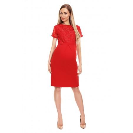 Červené tehotenské šaty s čipkou a mašličkou v páse
