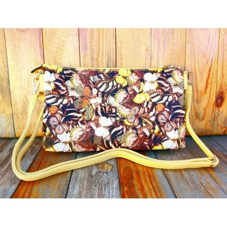 Žltá crossbody kabelka s motýľovým vzorom