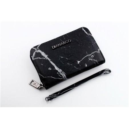 Čierna peňaženka Diana&Co s mramorovým vzorom