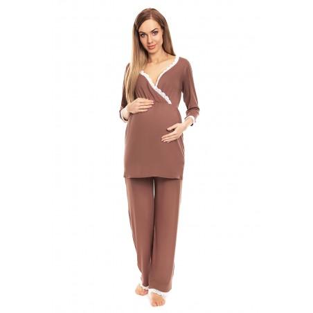 Tehotenské a dojčiace pyžamo 2-dielne s čipkou vo farbe cappuccino