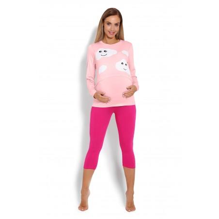 Ružové tehotenské,dojčiace pyžamo s motívom