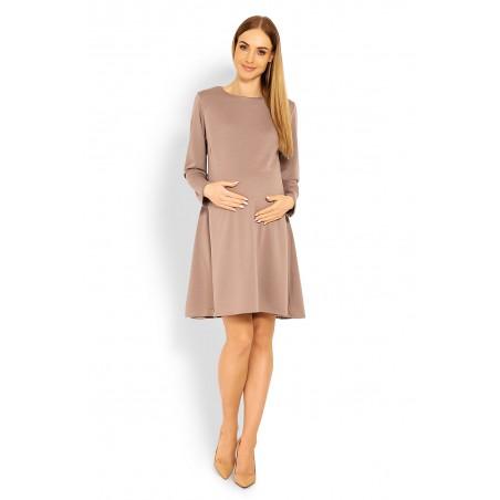 Voľné tehotenské šaty vo farbe Cappuccino