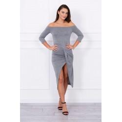 Sivé dámske šaty s rozparkom
