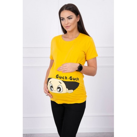 Horčicové tehotenské tričko s motívom