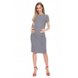 Pruhované midi tehotenské šaty