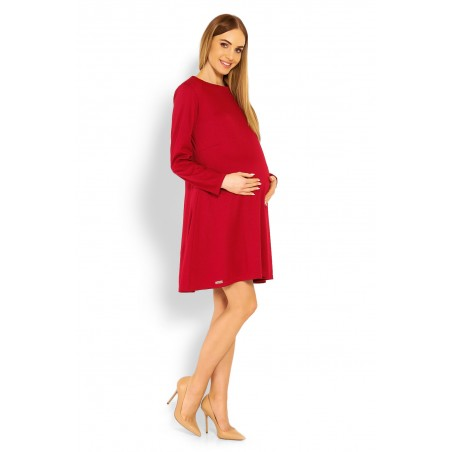 Červené tehotenské šaty s voľným strihom PeeKaBoo