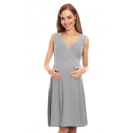 Šedé tehotenské šaty s véčkovým výstrihom