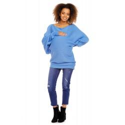 Modrý oversize tehotenský...