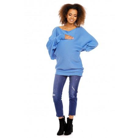 Modrý oversize tehotenský sveter PeeKaBoo