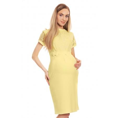 Žlté tehotenské šaty s čipkou a mašličkou v páse