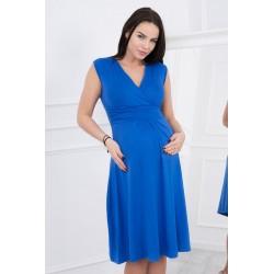 Modré tehotenské šaty bez...