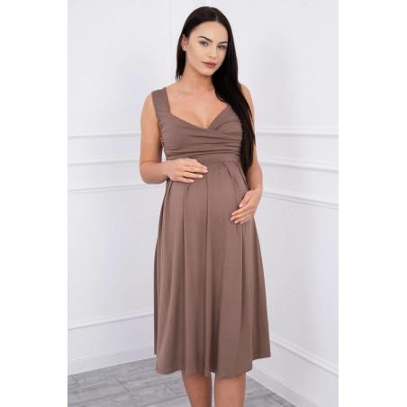 Tehotenské šaty so širokými ramienkami vo farbe cappucino