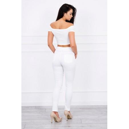 Biele nohavice s rezom na kolene