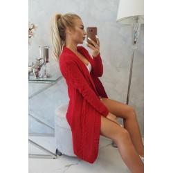Červený pletený kardigan