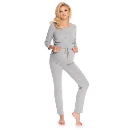 Sivé 2-dielne tehotenské/dojčiace pyžamo s krajkou