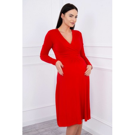 Červené tehotenské šaty s dlhým rukávom