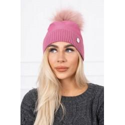 Ružová čiapka s brmbolcom