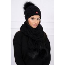 Komplet-Čierna čiapka a šál...