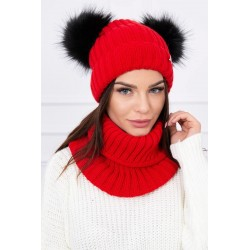 Komplet-Červená čiapka s...