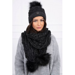 Komplet-Čierna čiapka a šál