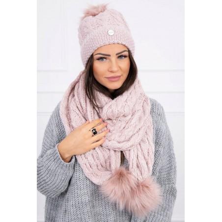 Púdrovo ružový komplet-čiapka a šál