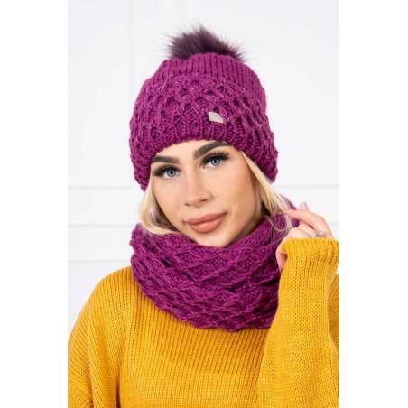 Komplet-Tmavofialová čapica so šálom