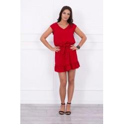Červené šaty s volánikom