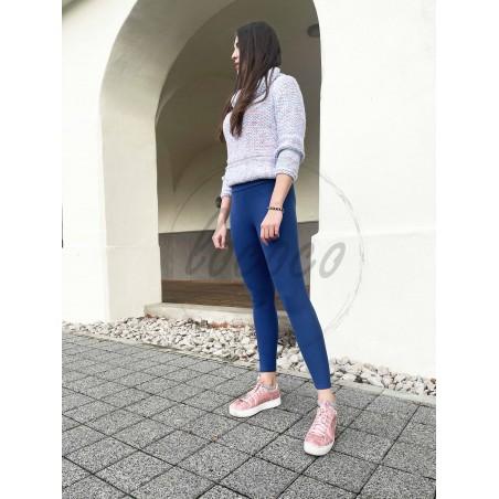 Jeansovo modré zateplené legíny s vysokým pásom