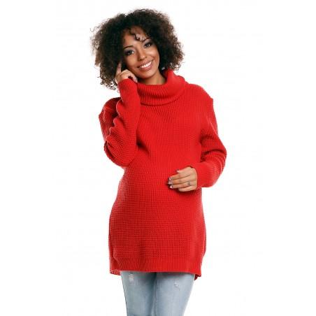 Červený rolákový tehotenský sveter