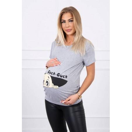 Sivé mamičkovské/tehotenské tričko