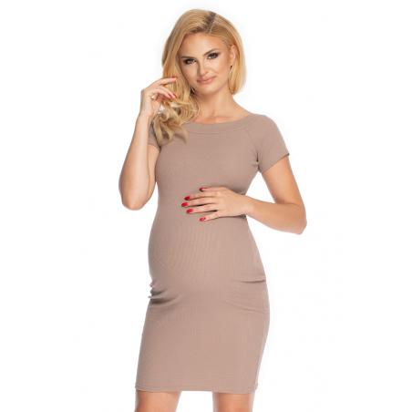 Tehotenské šaty vo farbe cappuccino PeeKaBoo