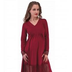Bordové tehotenské šaty s...