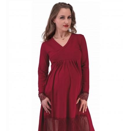 Bordové tehotenské šaty s čipkou