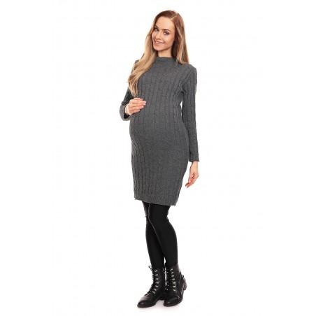 Sivé tehotenské pletené šaty PeeKaboo