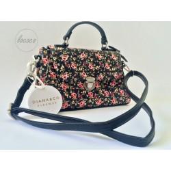Čierna kabelka s kvetinovým...