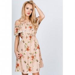 Béžové letné kvetinové šaty
