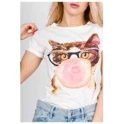 """Krémove tričko """"Mačka žuvačka"""""""