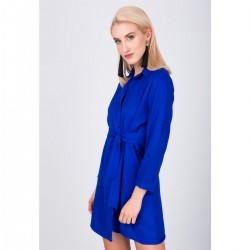 Modré dámske košeľové šaty