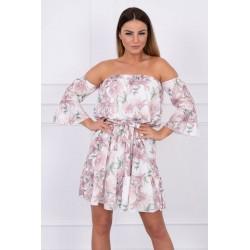Béžové šaty s kvetinovým...