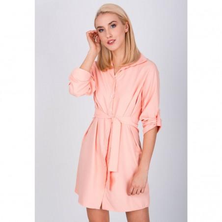 Marhuľové košeľové šaty s viazaním
