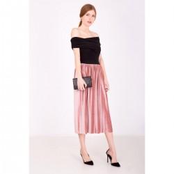 Práškovoružová plisovaná sukňa