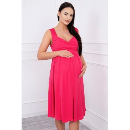 Ružové tehotenské šaty so širokými ramienkami