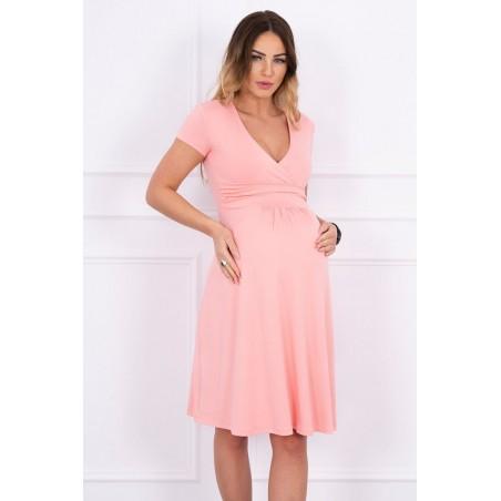 Lososové tehotenské cut-off šaty