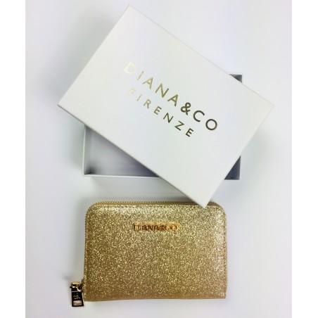 Zlatá trblietavá peňaženka Diana&Co
