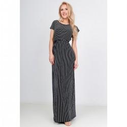 Čierne maxi šaty s pásikmi
