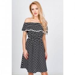 Čierne bodkované letné šaty