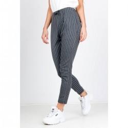 Sivé dámske nohavice s pásmi