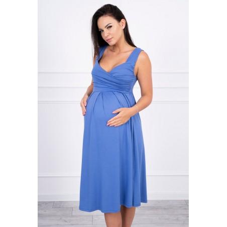 Jeansovo modré tehotenské šaty